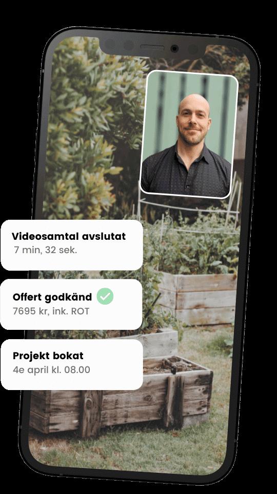 Videosamtal med arborist via Done som kan hjälpa dig med stubbfräsning.