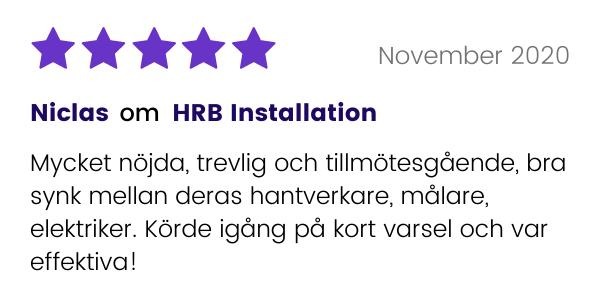 Nöjd kund till HRB Installation