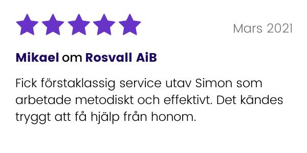 Kund till Rosvall AiB lämnar omdöme