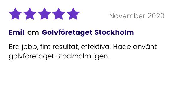 Golvföretaget Stockholm får recension av tidigare kund