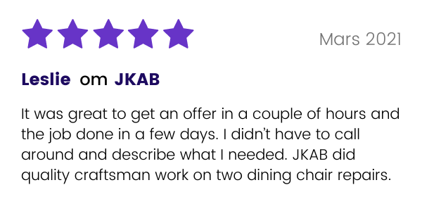 JKAB får positiv recension från kunden Leslie
