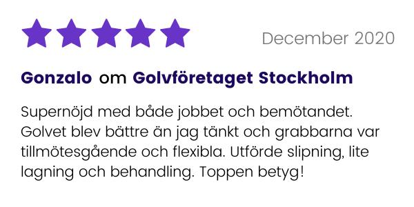 Kund ger Golvföretaget Stockholm toppbetyg