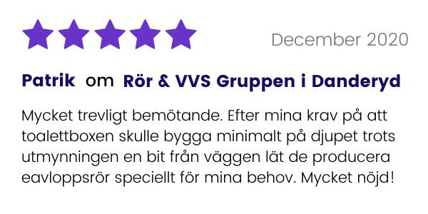 Rör & VVS Gruppen i Danderyd får gott omdöme från tidigare kund.