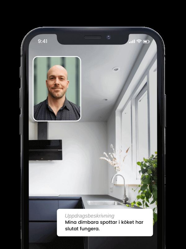 Videosamtal i Done appen med behörig elektriker i Göteborg