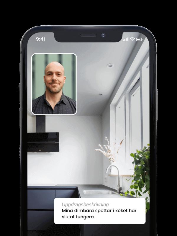 Videosamtal i Done appen med behörig elektriker i Stockholm
