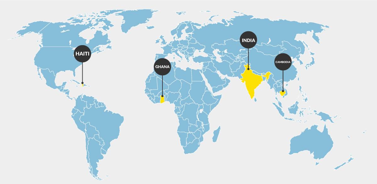 The world map - showing Haiti, Ghana, India, and Cambodia