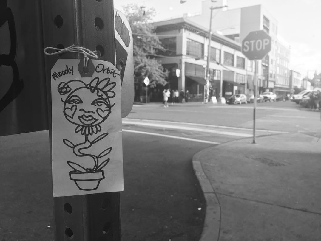 Moody Orbit Art on Seattle city streets