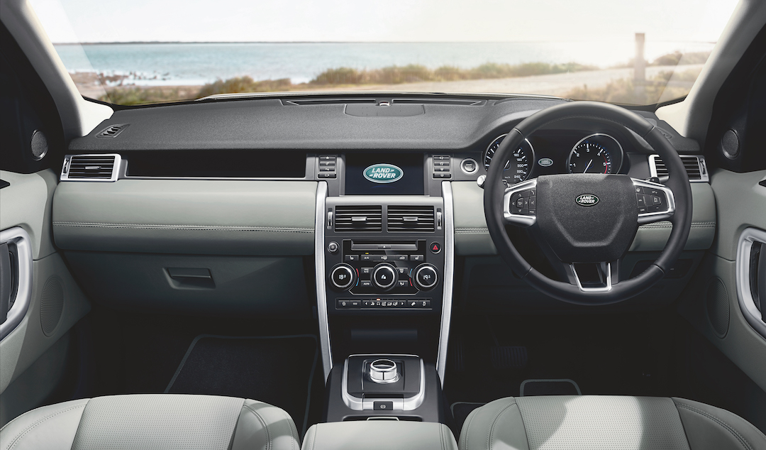 Interior of a Land Rover Rental Car