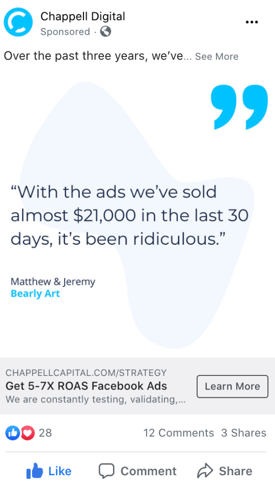 Facebook Ad testimonial - Chappell Digital Marketing