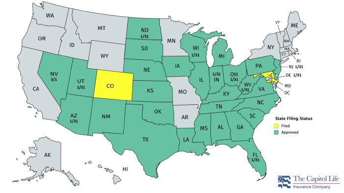 Capitol Life Med Supp State Availability Map