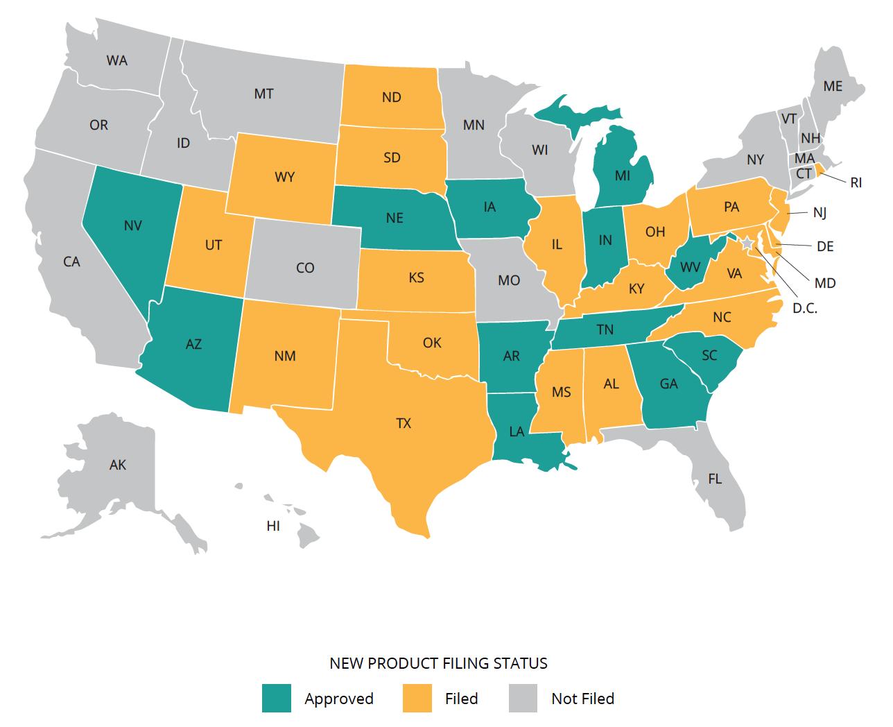 ManhattanLife Assurance State Filing Map