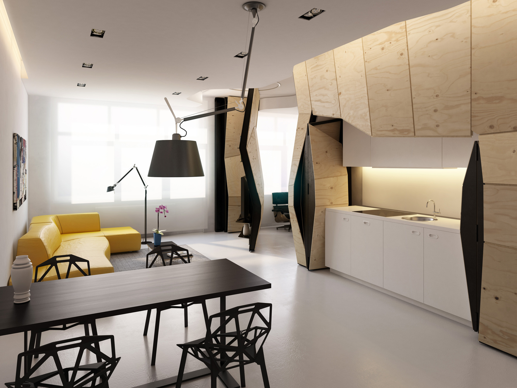 A small apartment with a smooth gray floor and many diagonal lines: black chairs with polygon shapes, wooden cabinets at odd angles, and a yellow leather living room sofa with an oblique joint standing lamp.