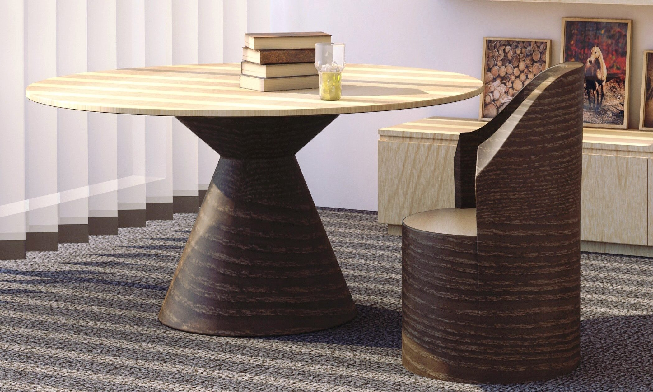 Shadow streaks resulting from vertical blinds give rhythm to a round wooden table and chair made of walnut with bold rings