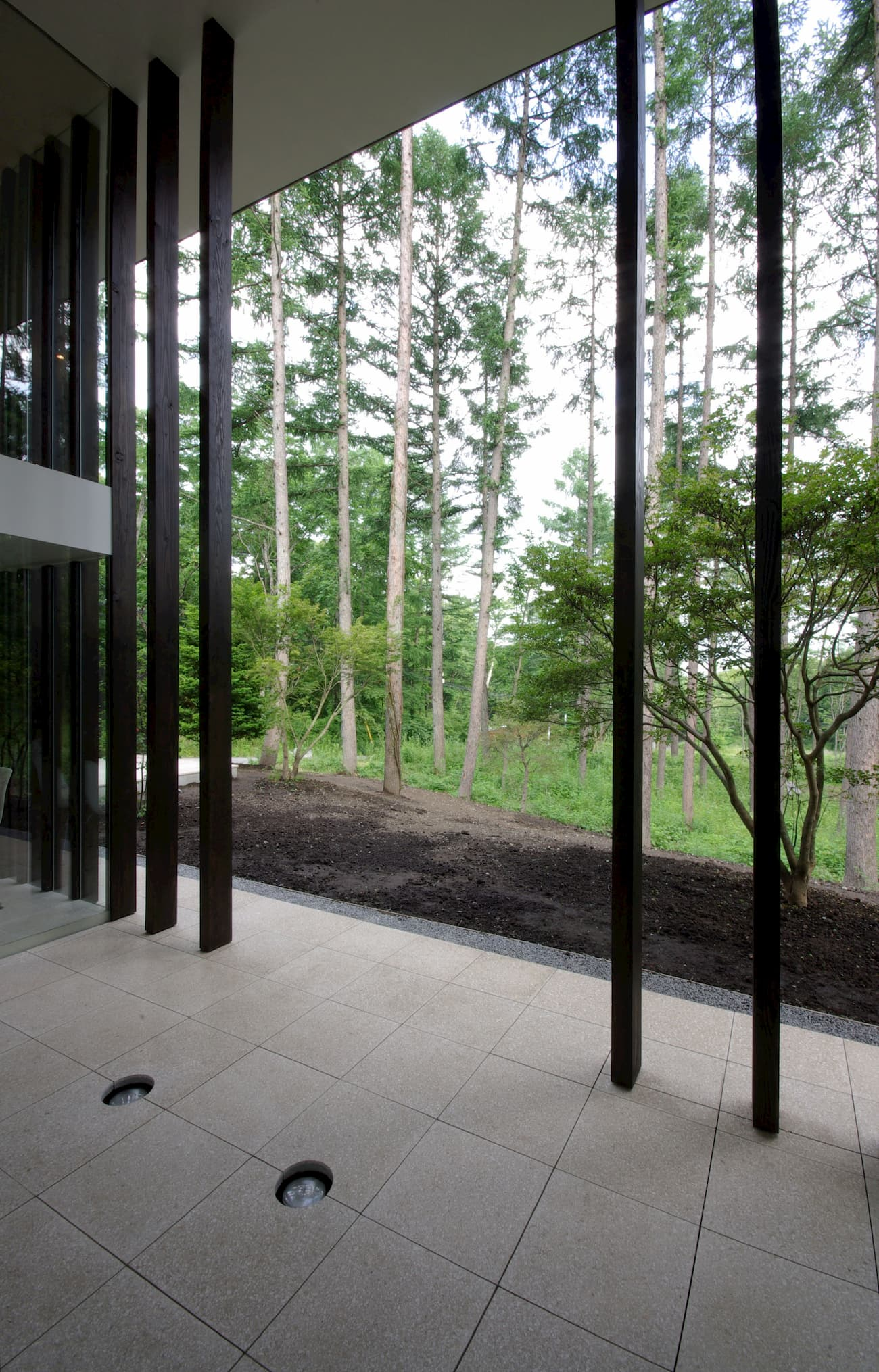 Doubled space in a house facing the forest. Wooden floor-to-ceiling columns span the height of the space.
