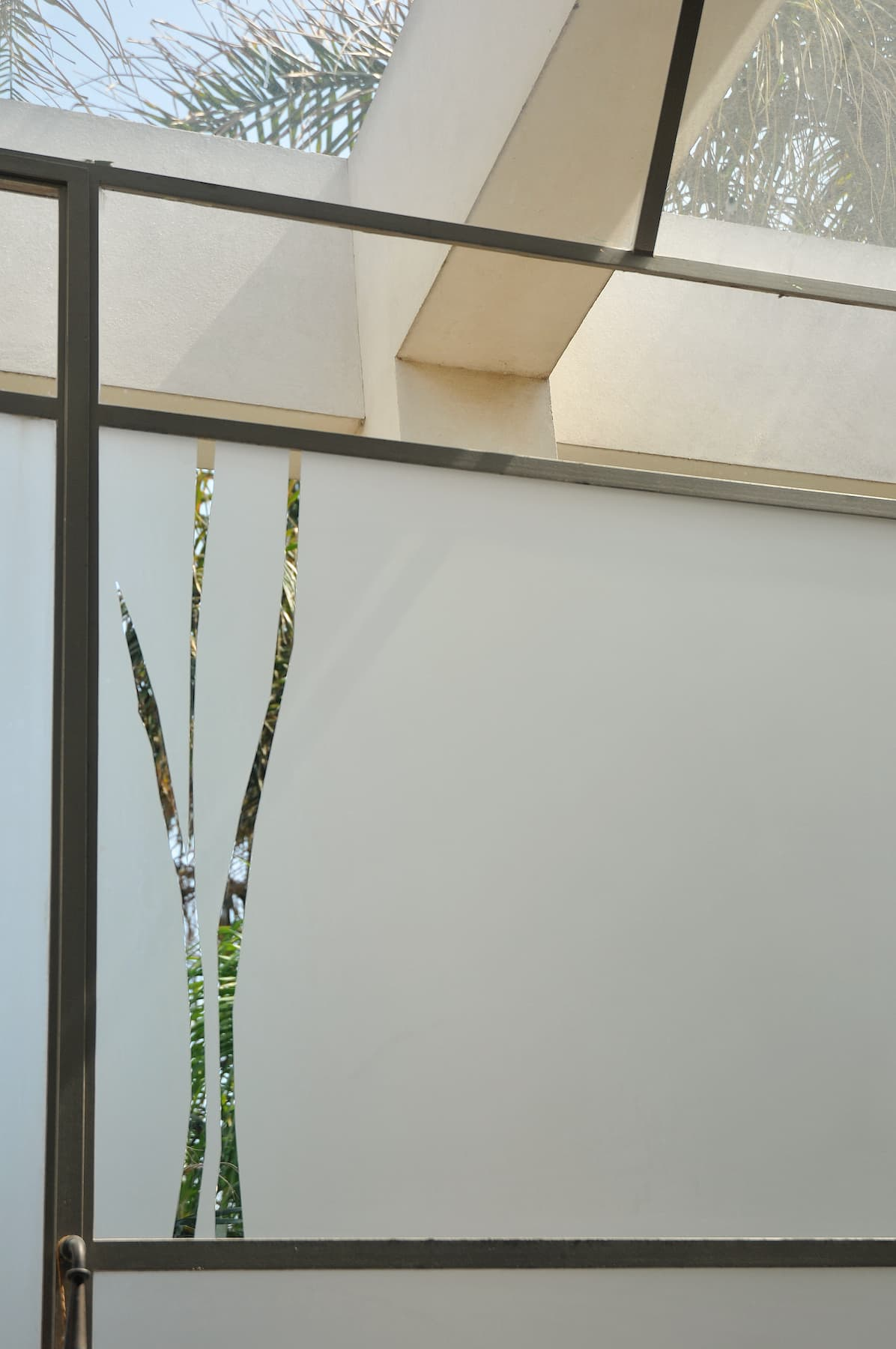 Example of smoked glass with transparent shapes of tall leaves