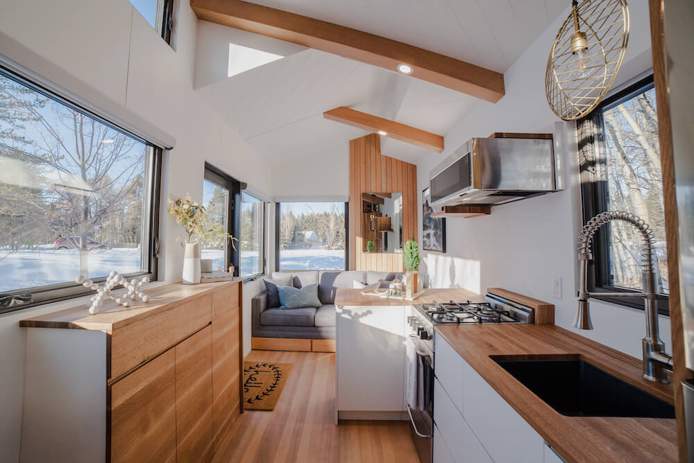 The Fritz Tiny House kitchen and living room