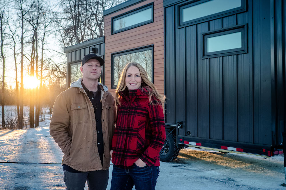 Kevin and Heather Fritz in front of their tiny home