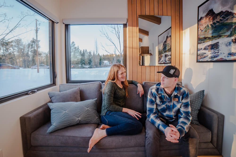 Kevin and Heather in the Tiny House Living Room