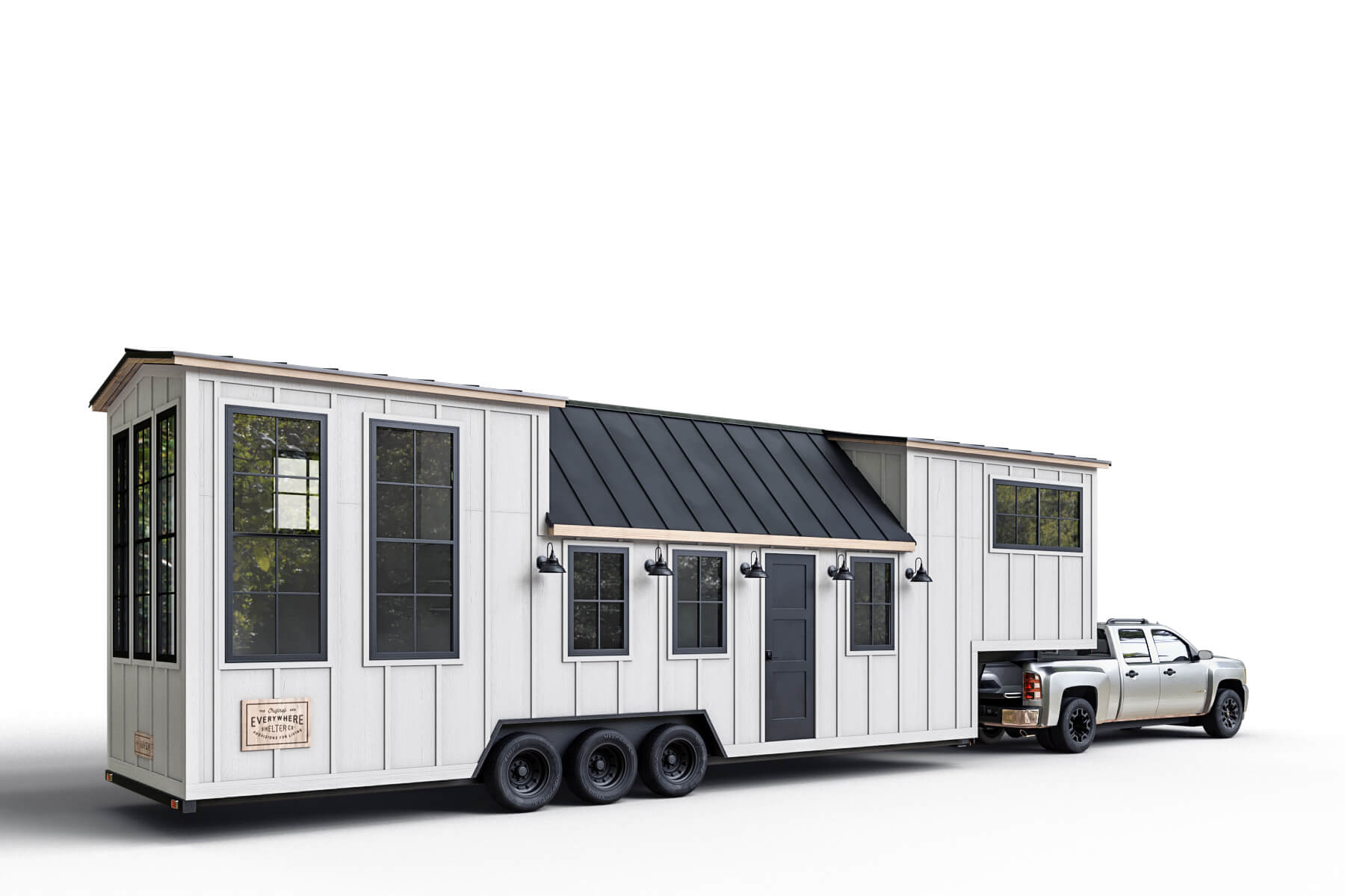 The Haven is a 38′ foot, gooseneck tiny home on wheels with tall ceilings and expansive glass windows to enjoy the views. One of the larger tiny houses out there, it's 354 square feet of living space is packaged onto an efficient and moveable trailer so you can take your home with you wherever you go.