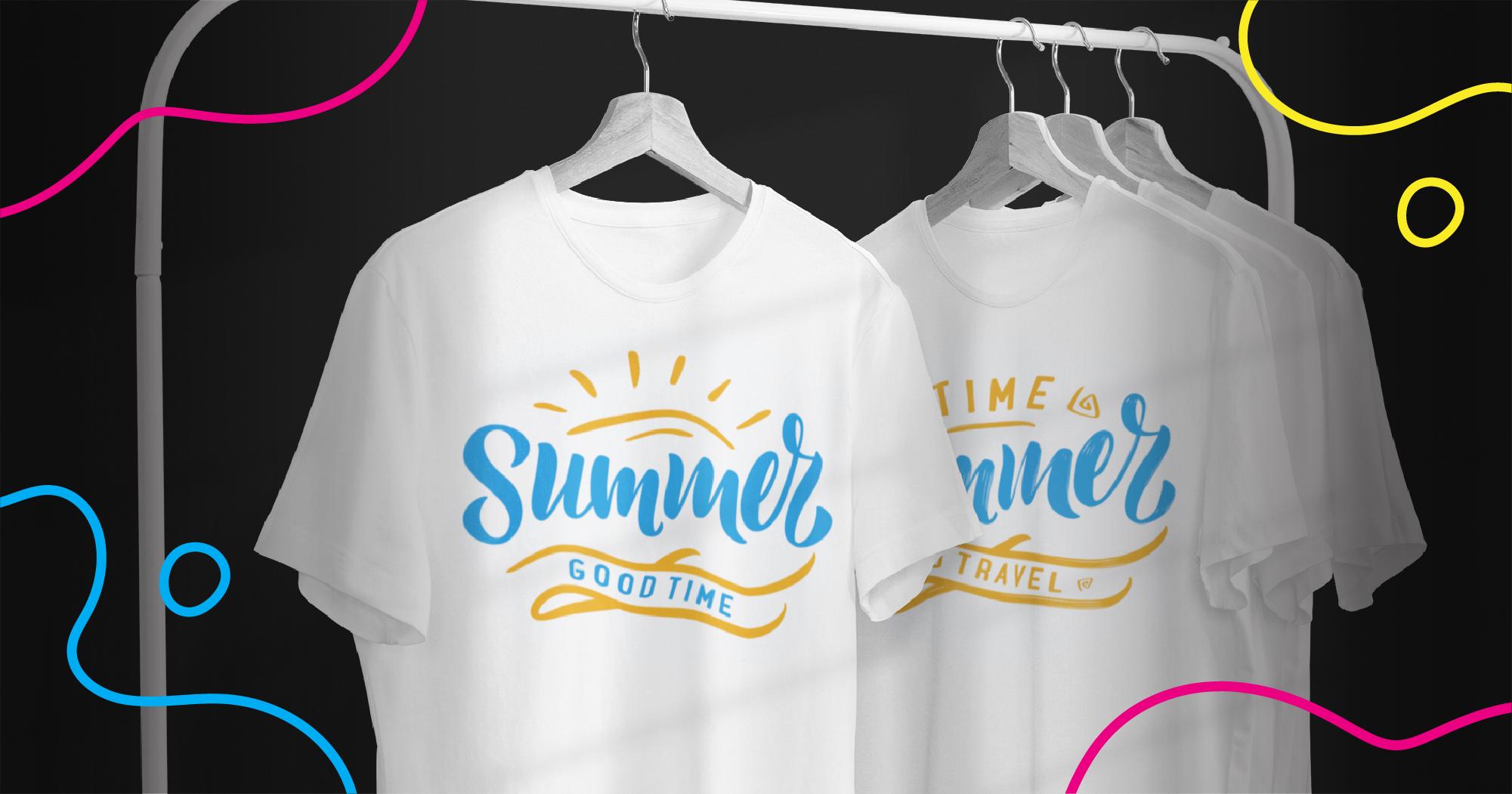 Custom shirts hanging on a rack made by print on demand companies.
