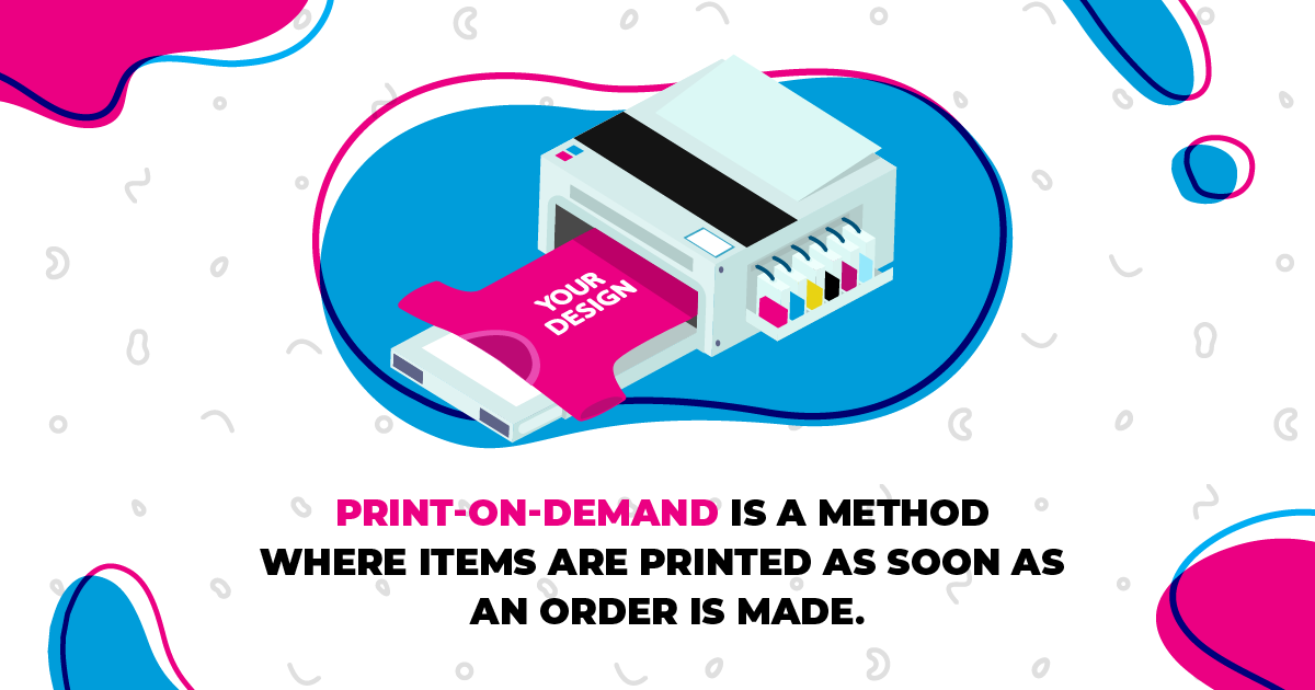 Graphic icons explaining what is print-on-demand.