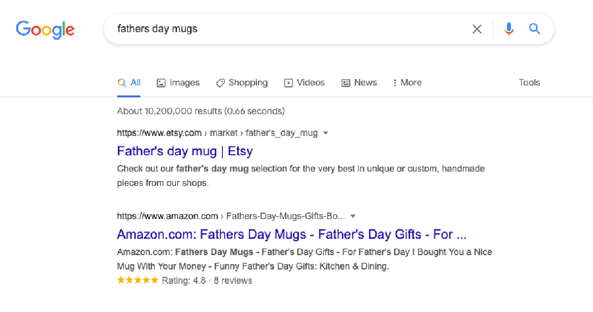 Google search results when someone types father's day mug into the search box.