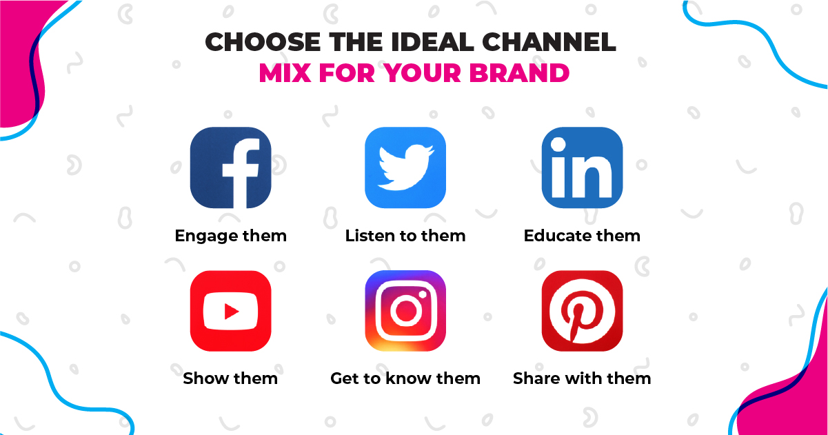 Social media platforms' logos. Facebook, Twitter, LinkedIn, YouTube, Instagram and Pinterest