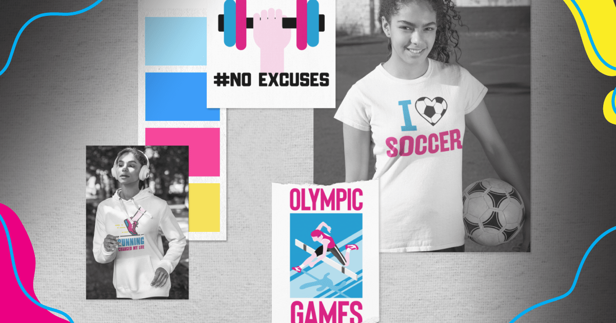 Representation of a digital mood board inspired by women who love sports.