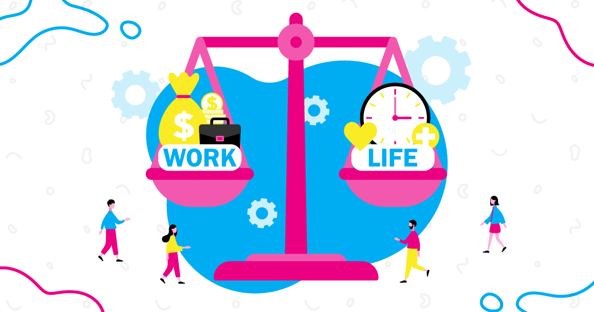 Graphic image of a scale balancing work and life, a big challenge for entrepreneurs.