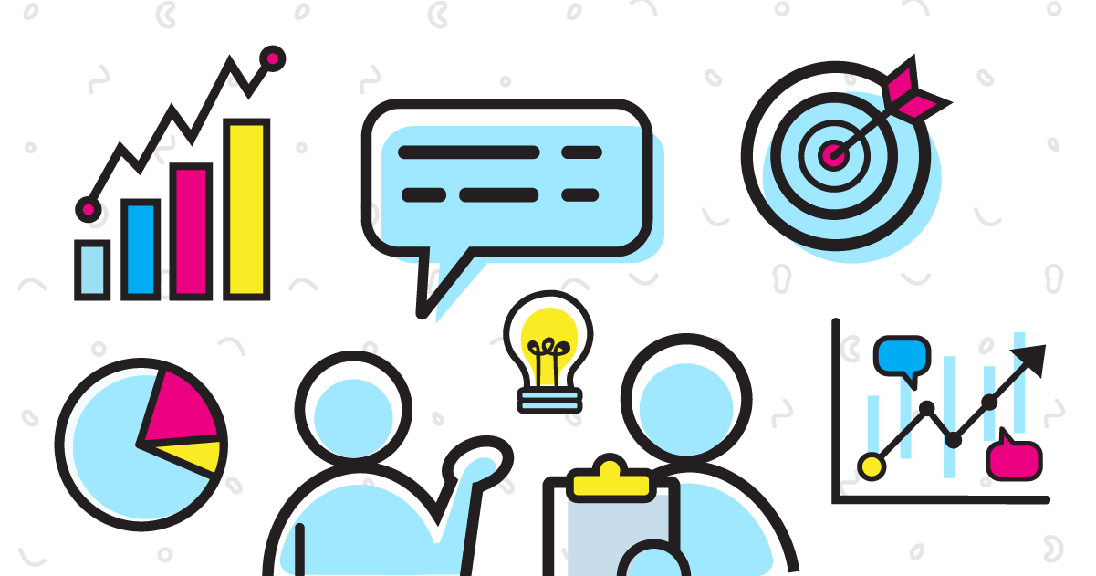 Graphic icons explaining what is involved in a market research process