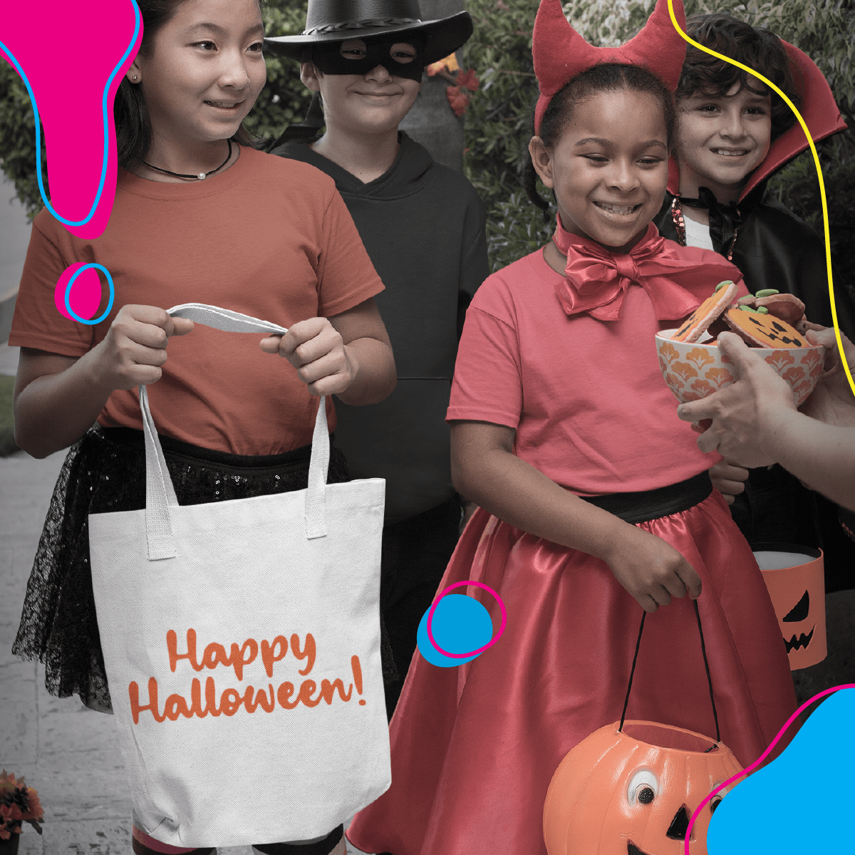 Children asking for candies with a tote bag, a Halloween trending product