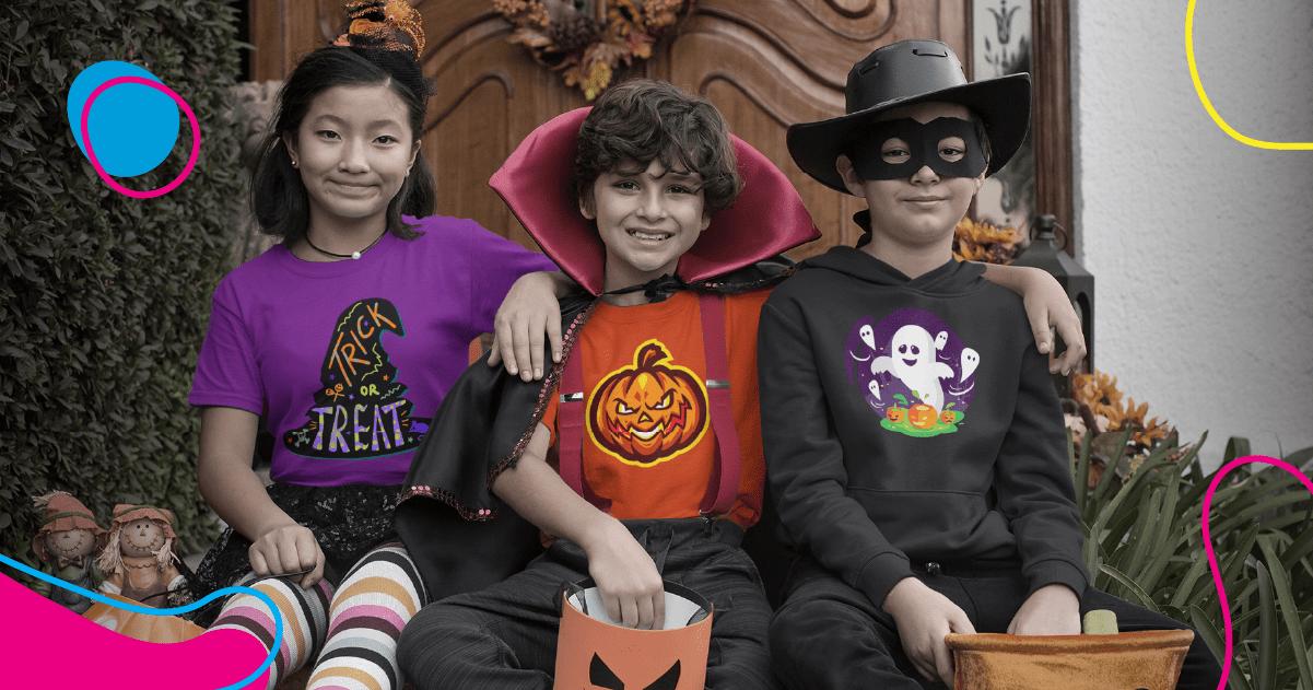 Kids celebrating Halloween wearing Halloween shirts made by Fuel.