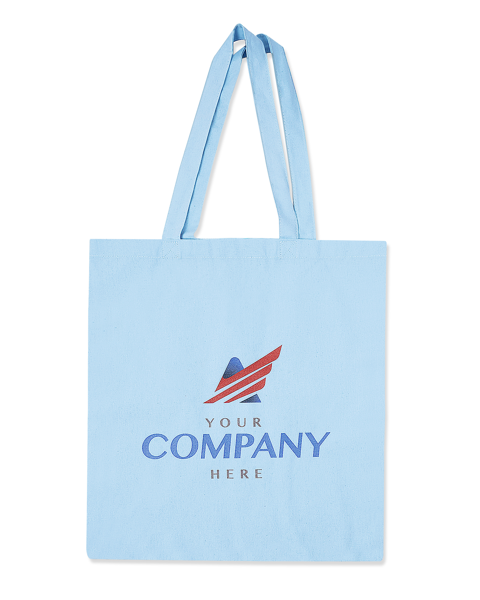 Fuel print of a generic company logo on a light blue canvas tote