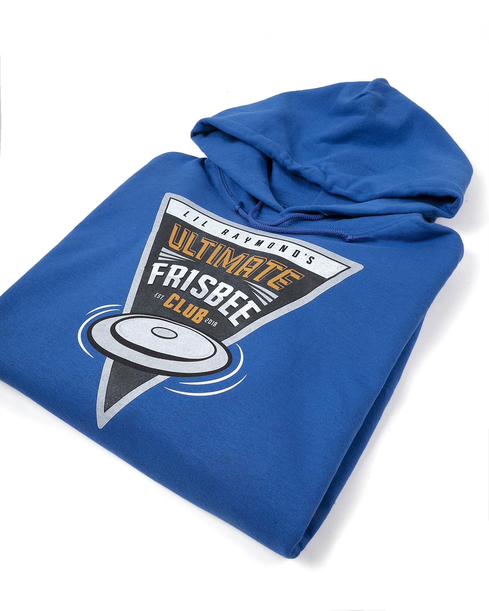 Fuel print of a Frisbee Club on a folded blue hoodie