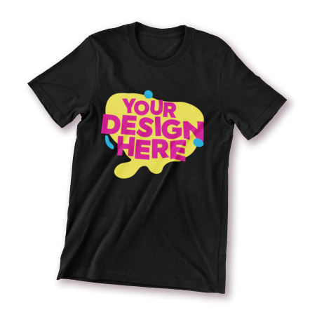 A black t-shirt with a design printed on the front.