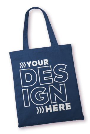 A blue canvas tote bag with a white design printed on it.