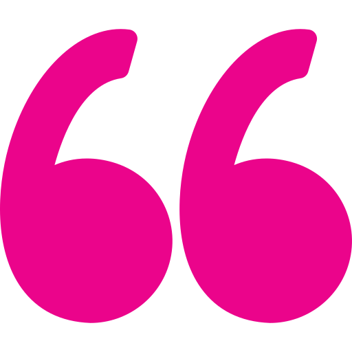 Image of a pink quotation mark.