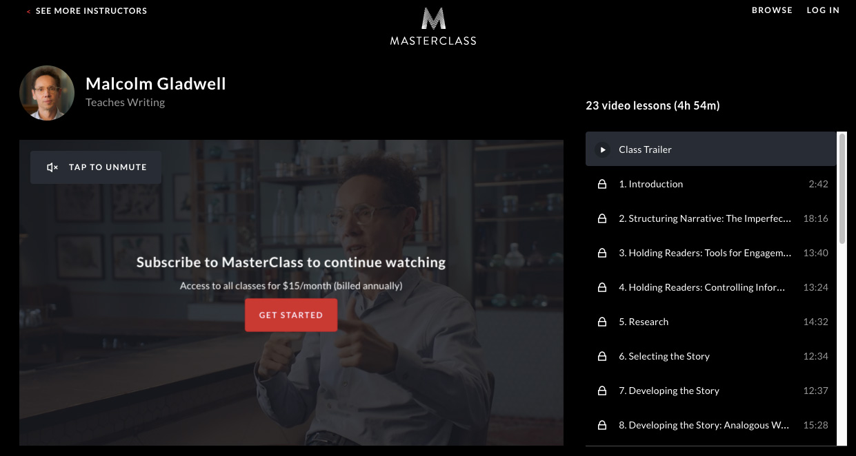 Malcolm Gladwell - MasterClass on Writing