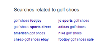 Related searches in Google
