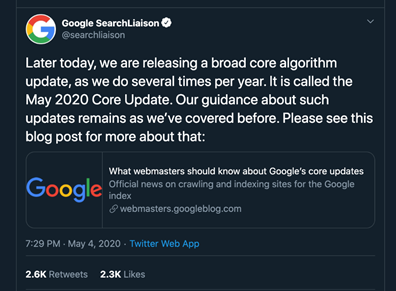 Google SearchLiaison account on Twitter