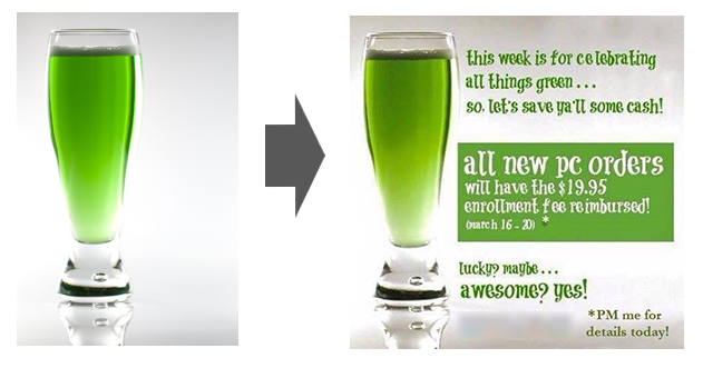 Showing an image of a St-Patrick's green beer glass (sold on a stock agency), and it's conterpart infographic that is using the picture.