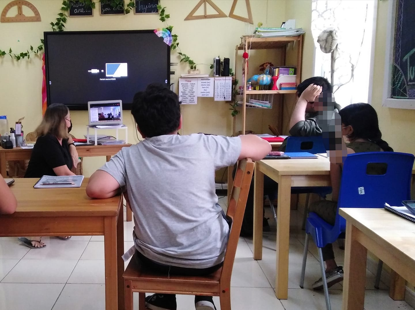 The students at Widad having a video call with the Project Search Interns