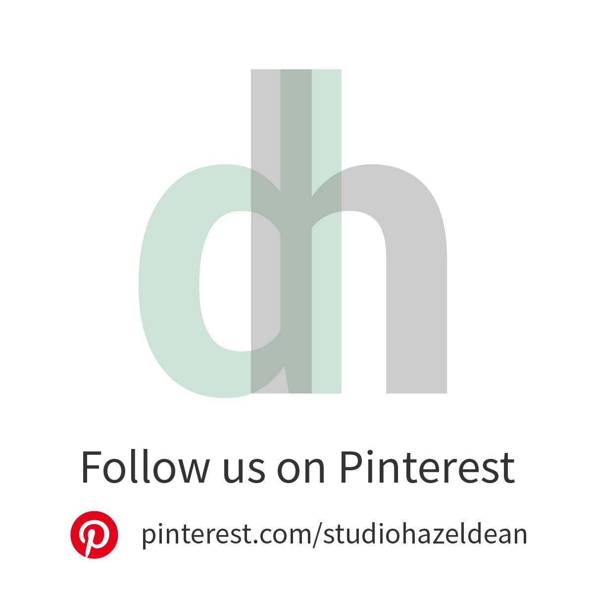 Infographic about following Studio Hazeldean on Pinterest