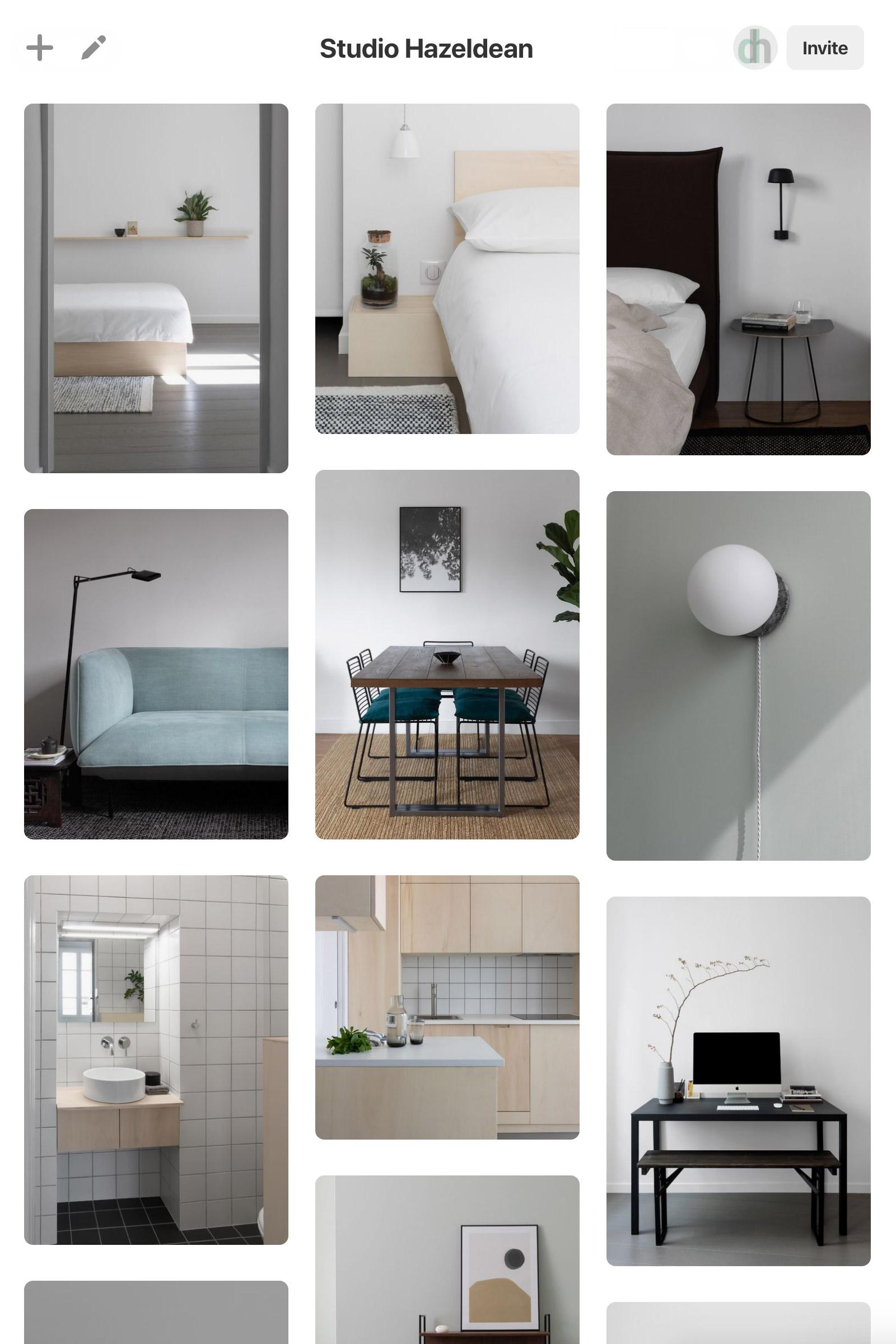 Pinterest screenshot showing board with Studio Hazeldean pins