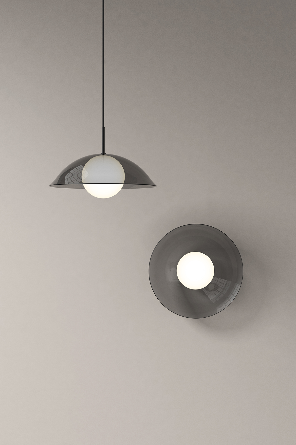 Pearl black pendant and wall light by Karakter