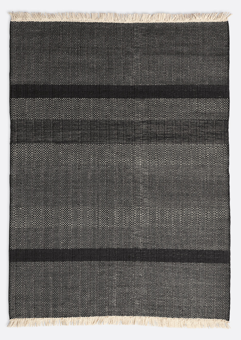 Tres texture black rug by Nanimarquina