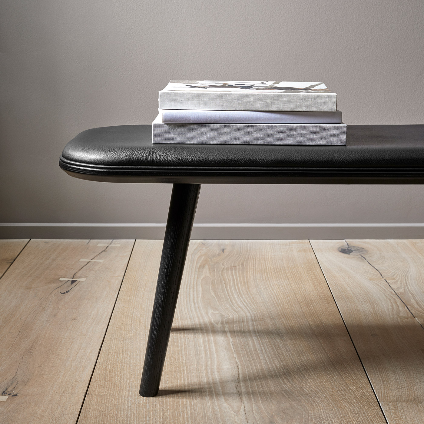Spine black wooden bench by Frederica