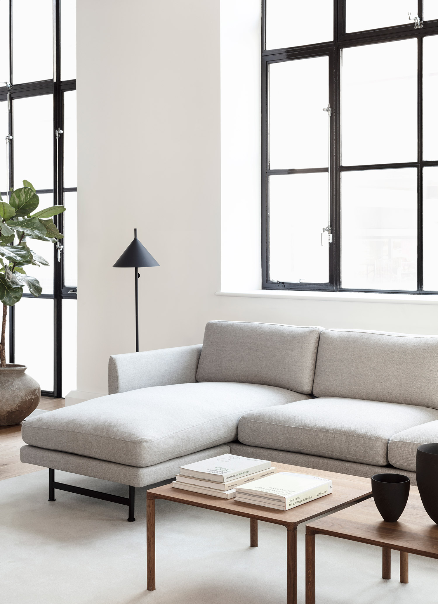 Fredericia Calmo fabric sofa in minimal white apartment
