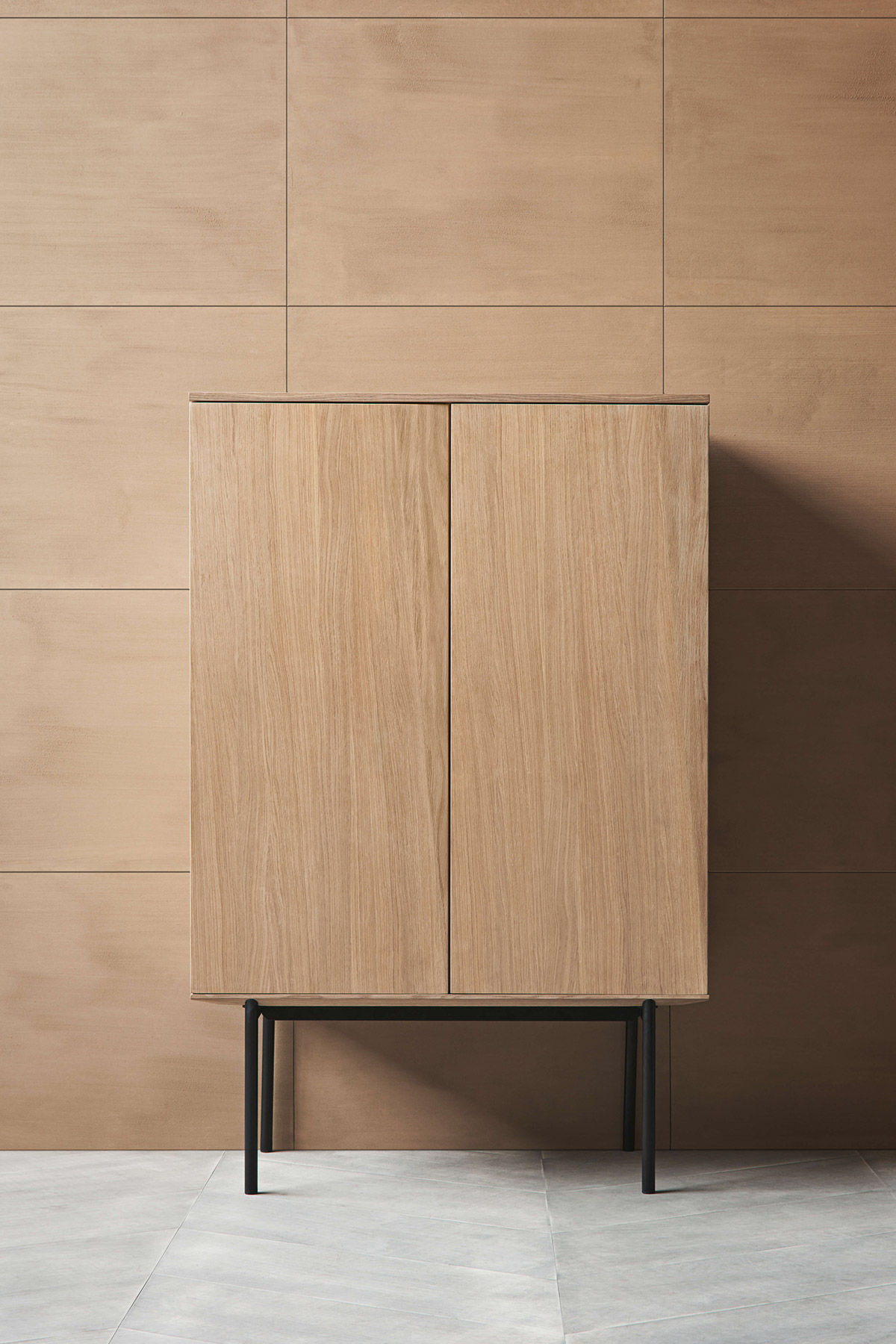 Bolia, Silent minimal wooden cabinet on black metal legs