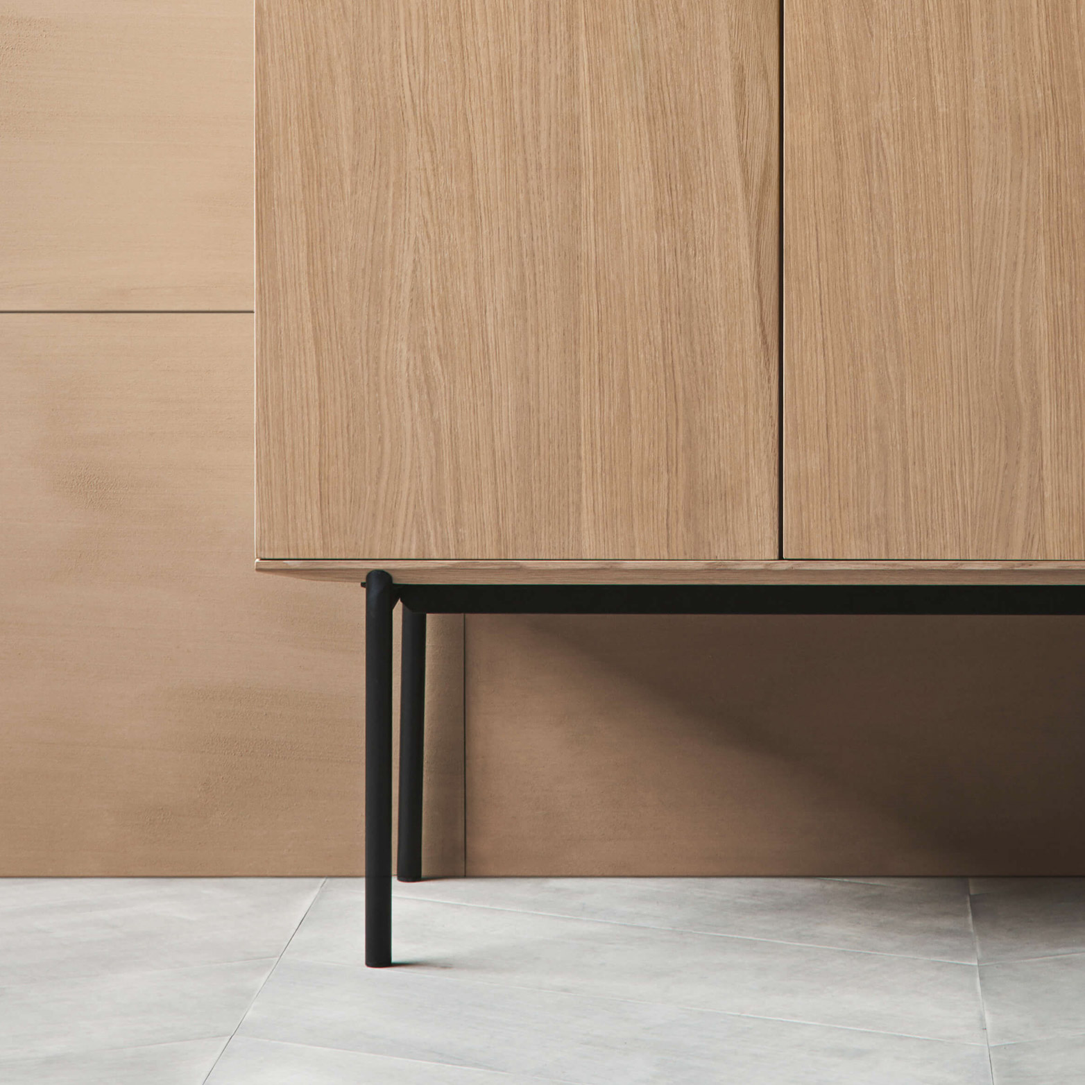 Fredericia silent highboard wooden cabinet metal leg detail